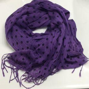 Sheer Purple Polka Dot Scarf